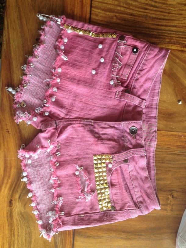 Red Grunge Shorts